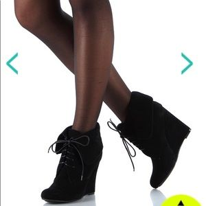 Suede wedge ankle booties